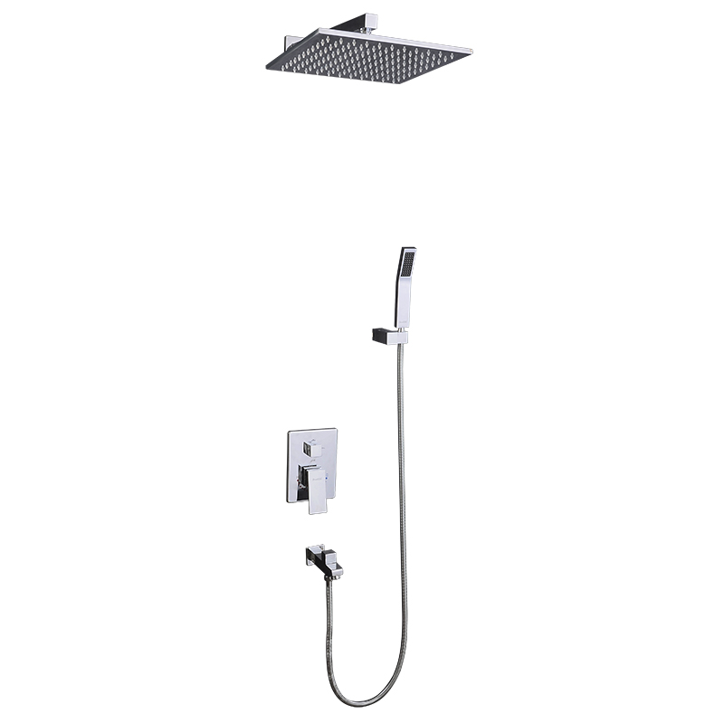 Купить с кэшбэком Bathroom Hot and Cold Water In Wall Mounted Shower Set Concealed Embedded Box Mixer Valve with 8/10/12 Inch Rain Shower Head