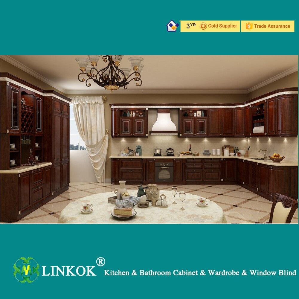 Linkok Furniture Dark Brown Solid Wood Kitchen Cabinets