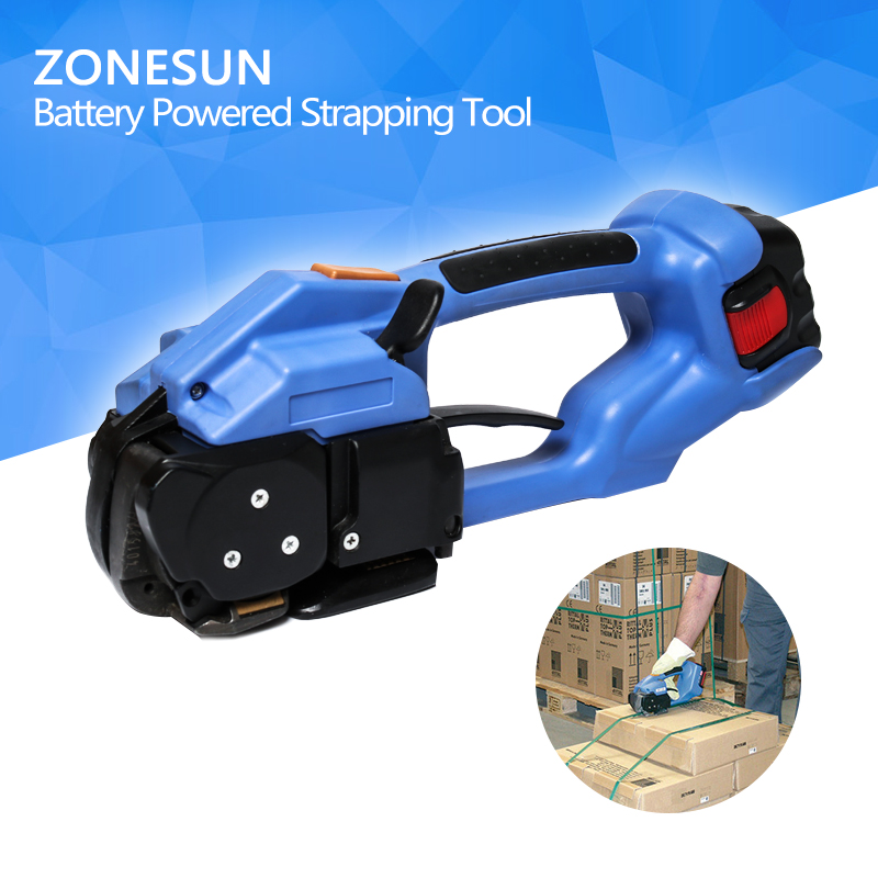 ZONESUN strapping machine ort200 Battery Powered Strapping Tool Electric Plastic Strapping Tool steel banding machine steel strapping tool handheld packaging equipment manual steel strapping tool