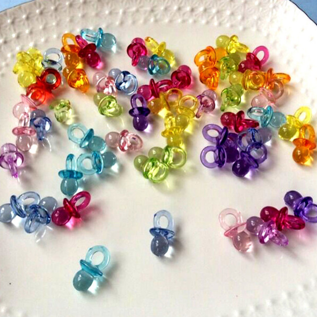 100Pcs/lot Clear Baby Shower Favors Mini Pacifiers Girl Boy Party Game Decoration Party Supplies Wholesale