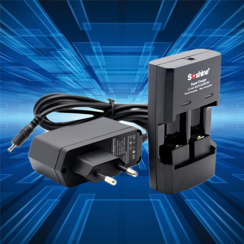 New Soshine Fast Charging Charger for Li-ion RCR123 / RCR2 CR2 16340 17335 16340P Li-FePO4 Intelligent Rapid Battery Charger