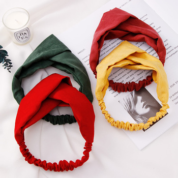 New Women Girls Spring Suede Soft Solid Headbands Vintage Cross Knot Elastic Hairbands Bandanas Hair Bands Hair Accessories