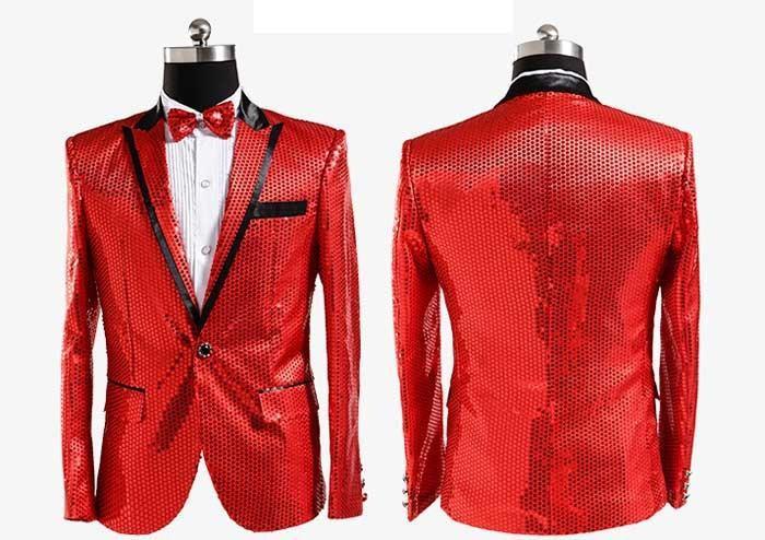 Cool Men Suit Fashion Men Slim Fit Black Red Prom Suit Jacket ...