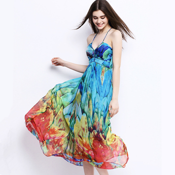 UNIQUEWHO Girls Women Bohemian Long Dress 100% Pure Silk Slip Dress Colorful Print Sling Dresses Lady Summer Holiday Beach Dress silk