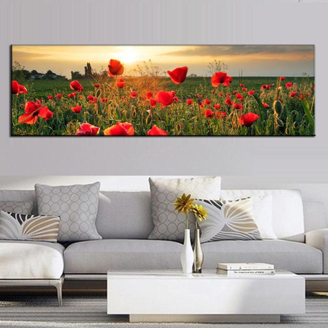 Large Canvas Painting The Flower Fields Canvas Wall Art Picture Wall