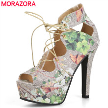 MORAZORA Plus size 34-43 new high quality lace up platform women pumps peep toe pu printing leather summer ladies party shoes