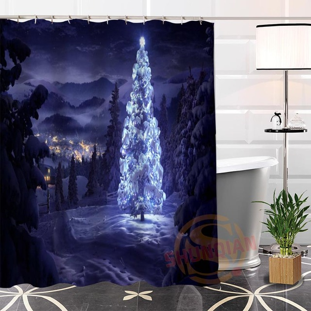 Hot new eco friendly custom unique christmas tree modern shower hot new eco friendly custom unique christmas tree modern shower curtain bathroom waterproof for yourself solutioingenieria Image collections