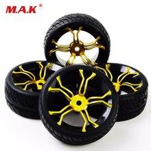Pneus de carro RC brinquedos modelo de borracha pneus & wheel rim 4 pcs pneus e rodas para HSP HPI RC 1:10 carro de corrida em estrada plana PP0150 + MPNKG
