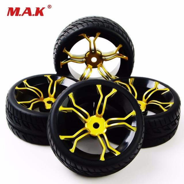 Rc 자동차 타이어 고무 타이어 및 휠 림 모델 완구 hsp hpi rc 1:10 에 대 한 4 pcs 타이어와 바퀴 도로 자동차 pp0150 + mpnkg에 플랫 레이싱
