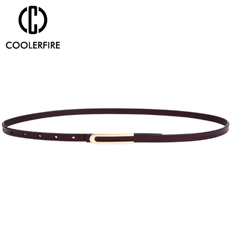 Fashion Belt Genuine Leather High Quality Thin Skinny Waist Women Belt Thin Belt Female Waist Belts for Women Dress Strap LB077 in Women 39 s Belts from Apparel Accessories