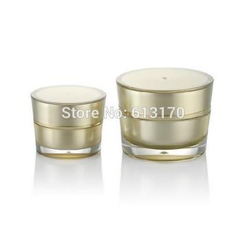 5g,10g Empty cream jar Cone Shape Acrylic Mini sample jars Gold Color Diy Makeup cosmetic packing container free shipping