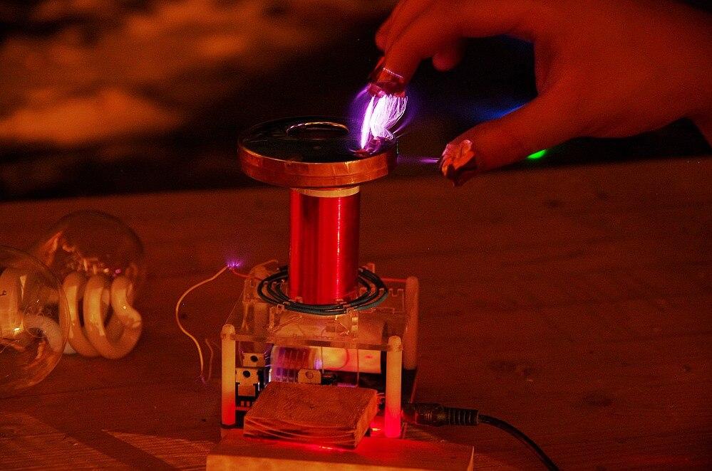 Micro bobine tesla SGTC étincelle écart bobine tesla bricolage Kits science physique jouet - 5