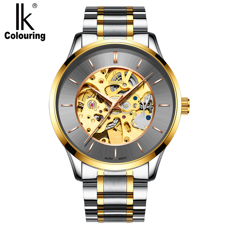 IK automatic mechanical watch Korean business double-sided hollow men's watch waterproof mechanical watches orkina kc023 double sided hollow automatic mechanical men s wrist watch black silver coppery