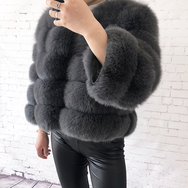 2019 new style real fur coat 100% natural fur jacket female winter warm leather fox fur coat high quality fur vest Free shipping 121