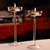 European Handmade Glass Candle Holder High Foot Crystal Candlesticks Romantic Dinner Ornaments Crafts Coffe Shop Home