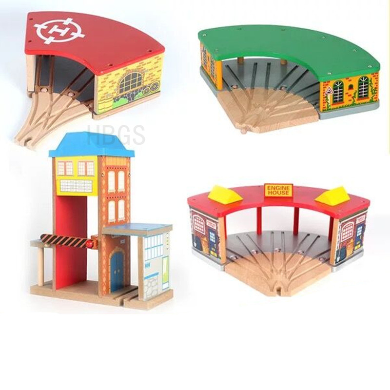 Wooden Train Garage Accessories For Thomas and Friends Tomas Train Rail transit Parking Garage thomas wooden train track railway accessories toy luxury train station 3 doors garage parking house train station