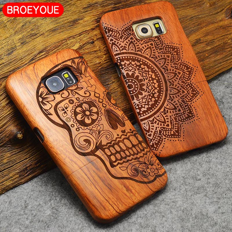 BROEYOUE Case For Samsung Galaxy S8 S9 S5 S7 S6 Edge Plus Note 8 5 4 3 Wood Case For iPhone 5 5S SE 7 6 6S 8 X Plus Carving Case