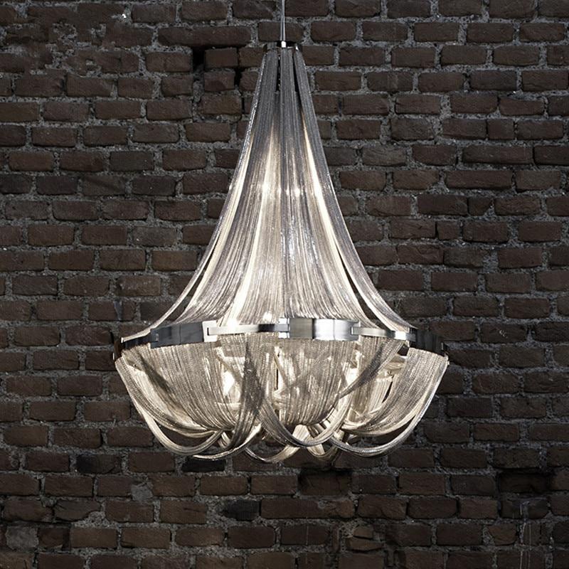 Modern Art Aluminum Chain Pendant Lamp Engineering Design Luxury Silver Chain Hotel Pendant Lamp Dining Light Free Shipping crystal lamp funnel art light droplight pendant lustre luxury modern design lighting free shipping pl5