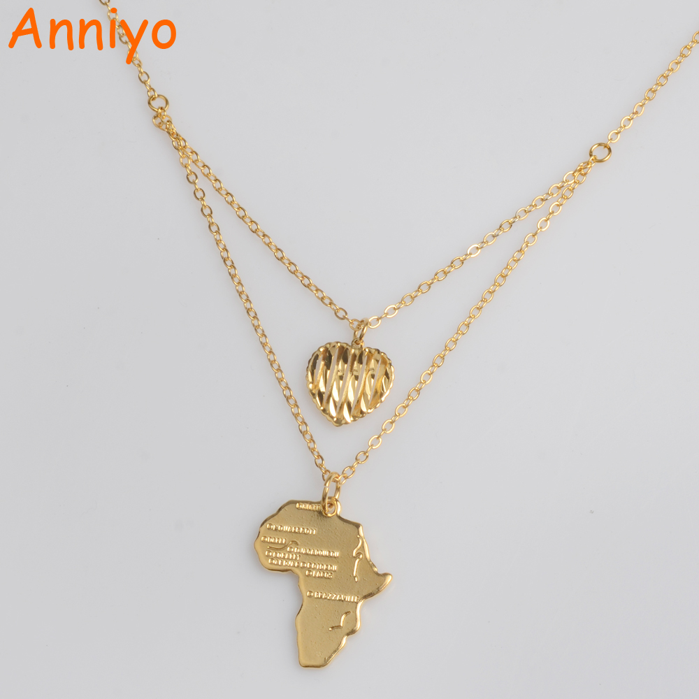Anniyo Charm Heart African Map Necklaces for Women Gold Color Ethiopian Jewelry Gifts Maps #013321