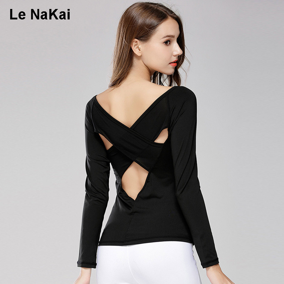 Mesh Back Long Sleeves Sexy Yoga Shirts For Women Fitness Sim Cross Back Breathable Yoga Top Shirts Quick Dry Sports Clothing