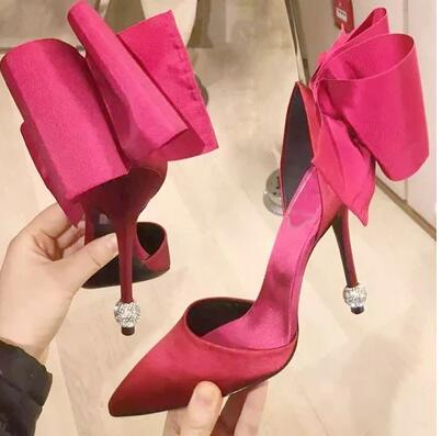 ФОТО Hot! Sexy Rose Red High-Heels 9cm Thin Heels Sandals Female Summer Black Diamond Night Catwalks Bow Shoes Shoes Woman 2 Color