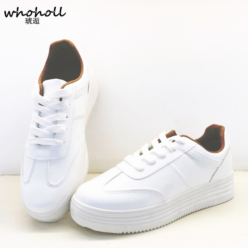 2017 men casual lshoes  white PU lace up flats shoes thick heel platform height-increasing shoes students Zapatos mujer