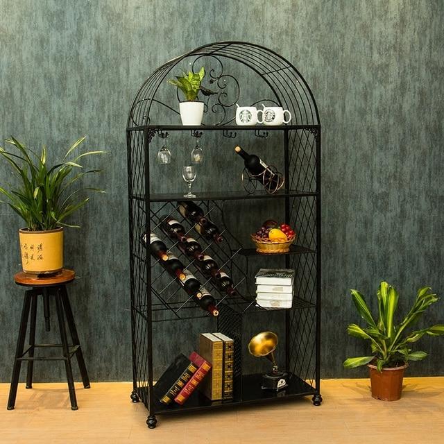 Wine Rack In Living Room Part - 19: Creative European Wine Holder Rack Hanging Glass Frame Cabinet Household Living  Room Decoration Simple Multilayer Frame