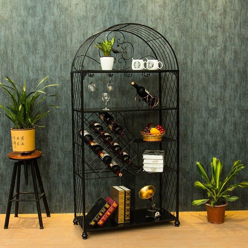 Creative European wine holder rack hanging glass frame cabinet household living room decoration simple multilayer frame