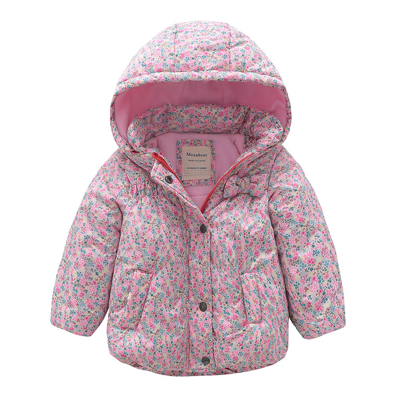Girls Winter Coat Kids Casual Cotton Flower Print Detachable Hood Thicken Warm Coat Toddler Children Clothes Windproof Outerwear все цены
