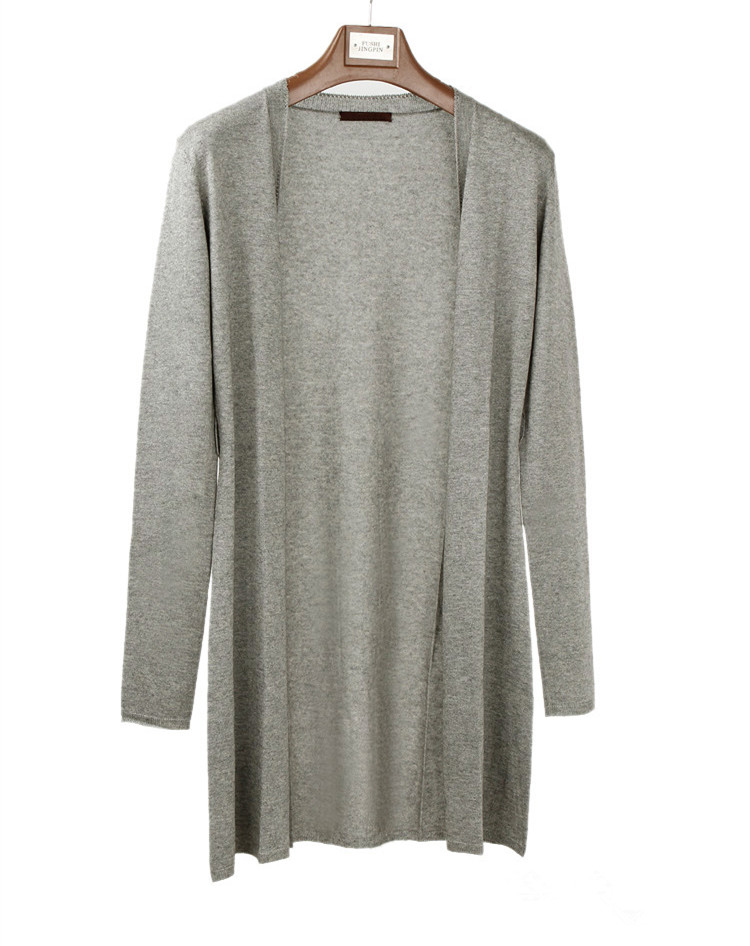 silk cashmere blend knit womens fashion spring autumn mid-long cardigan sweater coat grey one&over size ...