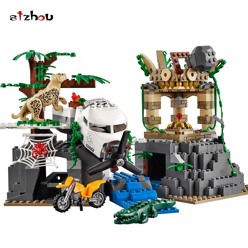 Stzhou 02061 Jungle Exploration Raiders of the Lost Ark Building Bricks Blocks Compatible with legoed walking through the jungle
