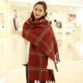 Autumn and Winter Women Scarves Plaid Cashmere Scarf  Unisex Tassle Oversized Basic Shawls Female pashmina bufandas LL117