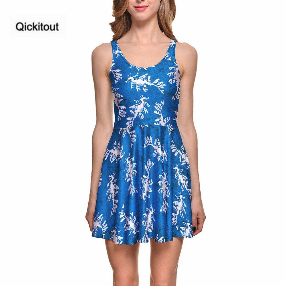 Qickitout платье мода лето Для женщин пикантные Повседневное 3 цифровой печати белый гиппокамп голубое платье vestidos bodycon оптовая продажа