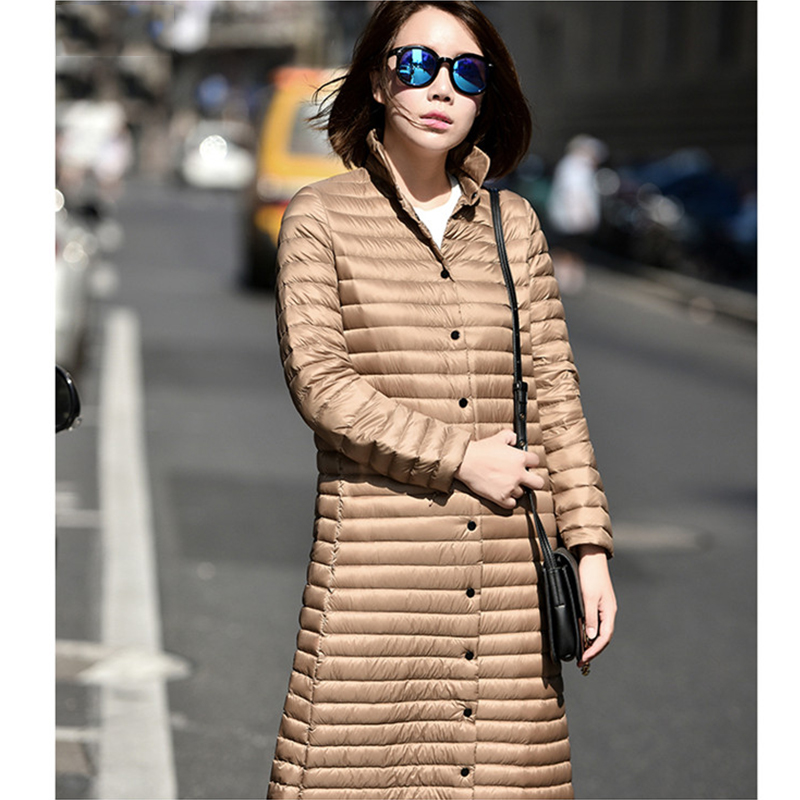 2017 New Autumn Winter Women Long Jacket Stand Collar Outwear Coat Super Light Female Down Jacket Solid Slim Ladies Parkas G79 s 2xl 2 colors 2015 new winter women down coat long slim turn down collar zipper jacket female belt pocket outwear zs308