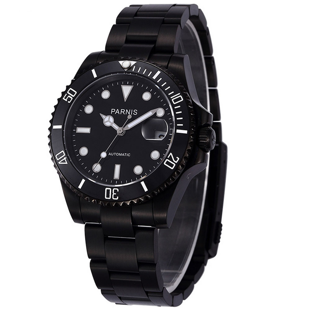 40mm PARNIS Black Dial Sapphire Glass Luminous Hands Rotating Ceramic Bezel Date Luxury PVD MIYOTA Automatic Movement mens Watch 40mm parnis black dial ceramic bezel pvd case luminous vintage sapphire automatic movement mens watch p145