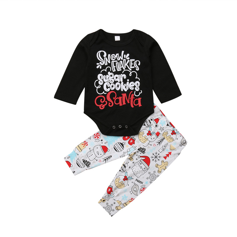 Boys' Baby Clothing Bear Snowman 2pcs Clothes Newborn Baby Boy Girl Xmas Letter Tops Romper Long Cartoon Pants Outfit Clothes Christmas Clothing Clients First Mother & Kids