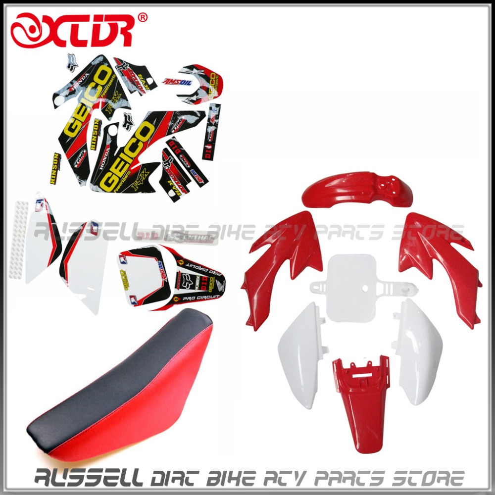 Plastics Fender Stickers Foam Seat Kit For Honda CRF50 110cc 125cc Pit Dirt Bike Red