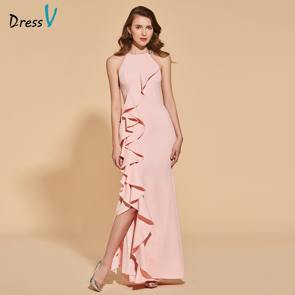 Dressv pearl pink   evening     dress   mermaid elegant split-front floor-length wedding party formal   dress   beading   evening     dresses