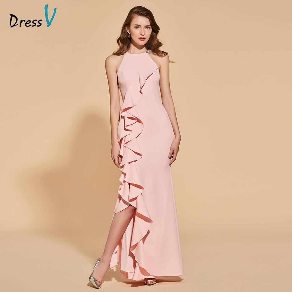 Dressv pearl pink   evening     dress   mermaid elegant split-front floor-length wedding party formal   dress   beading   evening     dresses