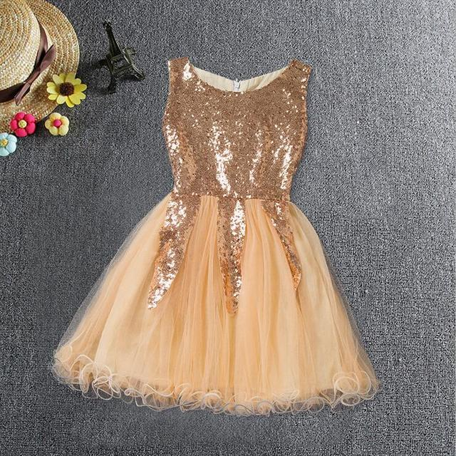 Retail children Girl gold sequin party dress Elegant champagne evening  dress toddler formal dress baby sling summer clothes 87c6b9a1c975