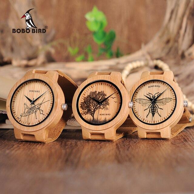 BOBO oiseau en bois montres hommes réaliste conception spéciale UV impression cadran visage bambou relogio masculino idéal cadeaux garde-temps C-P20