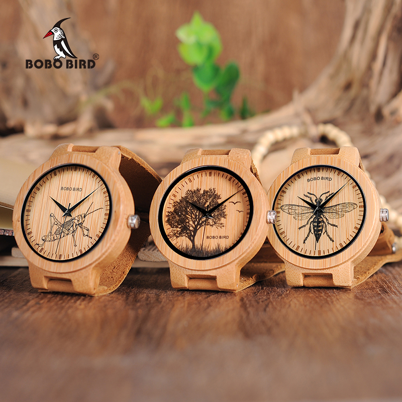 BOBO VOGEL Holz Uhren Männer Lebensechte Spezielle Design UV Print Zifferblatt Gesicht Bambus relogio masculino Ideal Geschenke Uhren C-P20