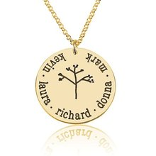 Family Tree Pendant Necklace 18K Gold Planted Simple Long Jewelry For Men and Women Custom Made Any Name YP2741