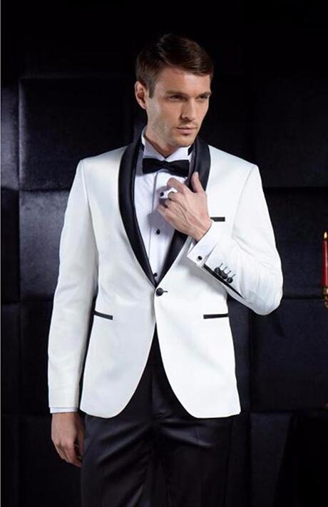 757 mens sequin jacket White Men Suits Groom Tuxedos terno Groomsmen Wedding Party Dinner Best Man Suits (Jacket+Pants+Tie)
