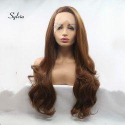 Sylvia Hitzebeständige Faser Braun Haar Perücken Volle Spitze Synthetische Perücken Körper Welle Haar Für Frauen Seite Gekämmt Natürlichen Haaransatz