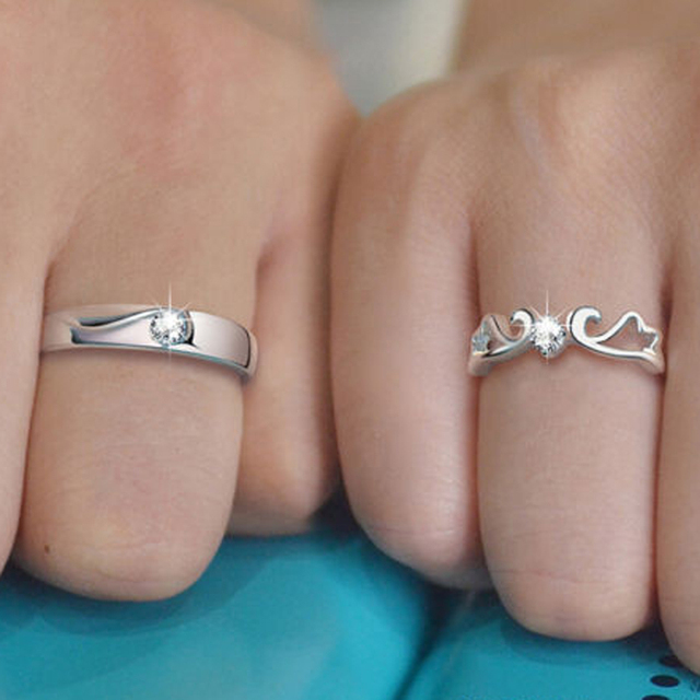 1 Pairs Charm Silver Open Rings For Women Bijoux Crystal Wing Engagement Wedding Jewelry anel masculino Couple Rings For Lovers