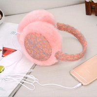 Winter Plush Lace Earmuff Warm Ear Muffs Headphones Girls Earmuffs Music Earphones Faux Fur Headphones