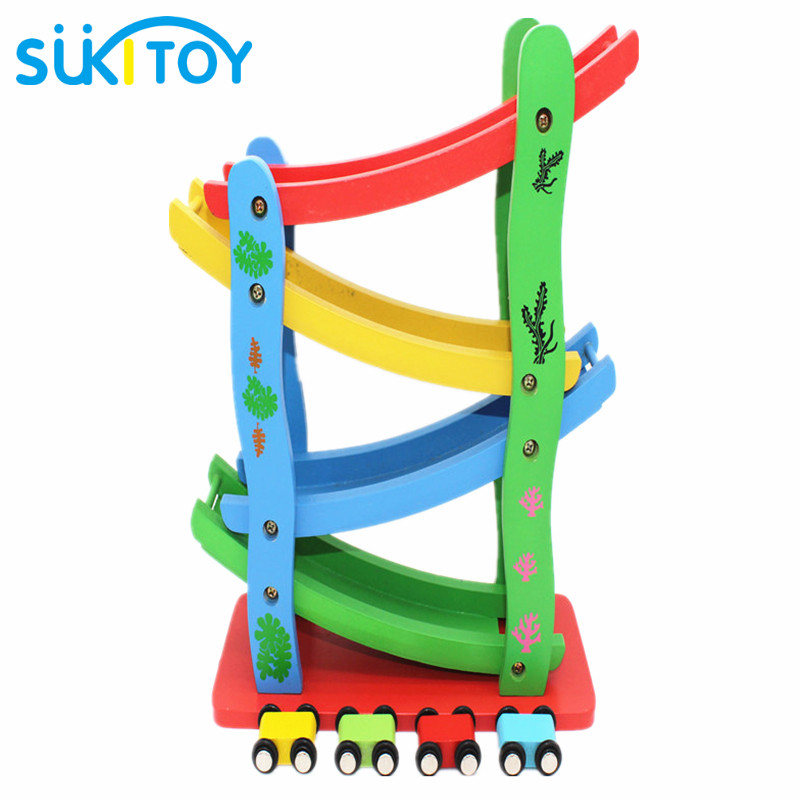 SUKIToy Baby Toys Model Building Kits Wooden Toys Ramp Race Fun Vehicle Toy Slide Blocks Educational Child Birthday Gift liquid water level sensor 1 2 pt thread plastic float valve ball