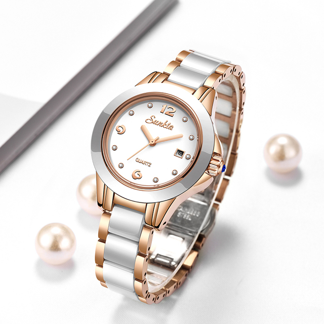 SUNKTA Fashion Women Watches Rose Gold Ladies Bracelet Watches Reloj Mujer 2019New Creative Waterproof Quartz Watches For Women 1