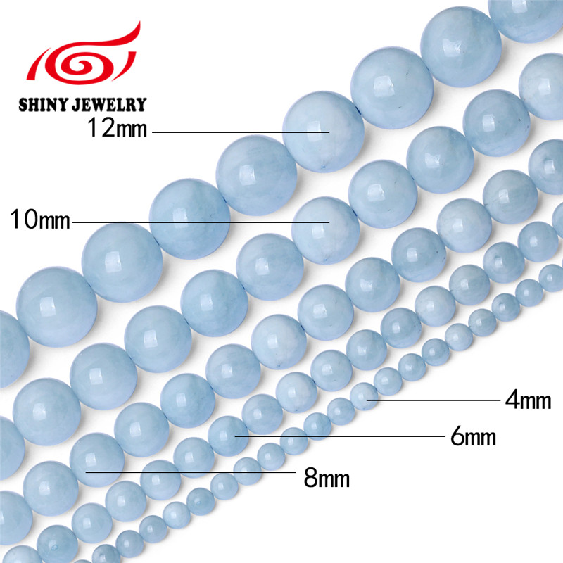 Natural Stone Beads Blue Aquamarin Round Beaded beads 6 8 10 12mm Fit DIY Beads For Jewelry Making